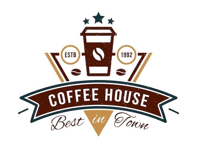 カフェのコーヒーハウスバッジロゴ