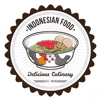 インドネシア料理の麺とミートボールバッジのデザインテンプレート