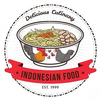 中華丼バッジデザインテンプレートのインドネシア料理麺