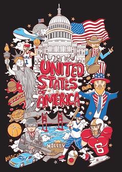 Добро пожаловать в соединенные штаты америки иллюстрации
