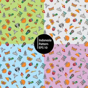インドネシアアイコンのシームレスパターン