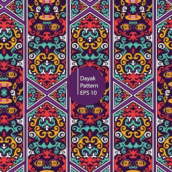 ダヤックボルネオのカラフルなパターンの背景
