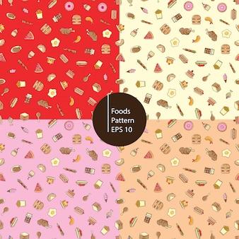 食品アイコンのシームレスパターン