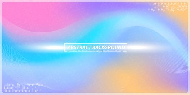 抽象的なグラデーションとラインレインボーバナーの背景のボケ味