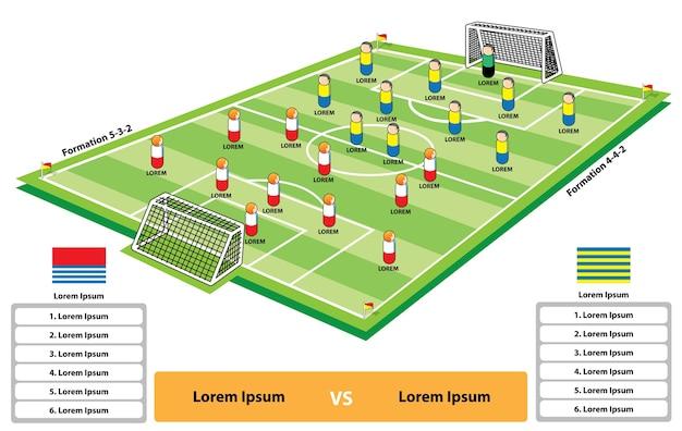 サッカーの試合の形成インフォグラフィック