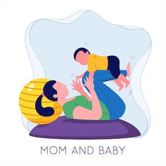 ママとベビー幼児が一緒に遊んで