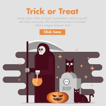 Плоский дизайн хэллоуин-баннер