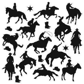ライダー馬のシルエットクリップアート