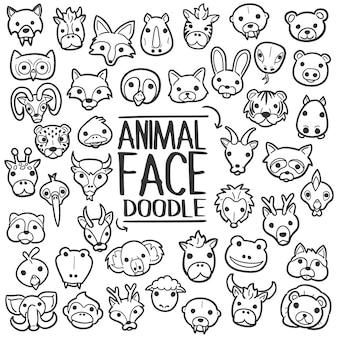 動物の顔を落書きクリップアートベクトル