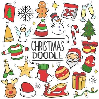 クリスマスの落書きクリップアートベクターセット