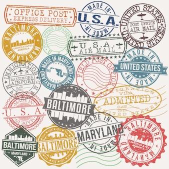 ボルチモアメリーランド州旅行およびビジネススタンプのセット