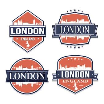 イギリスロンドン旅行とビジネスのスタンプデザインのセット