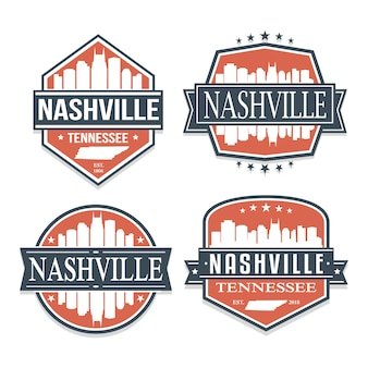 ナッシュビルテネシー旅行とビジネスのスタンプデザインのセット