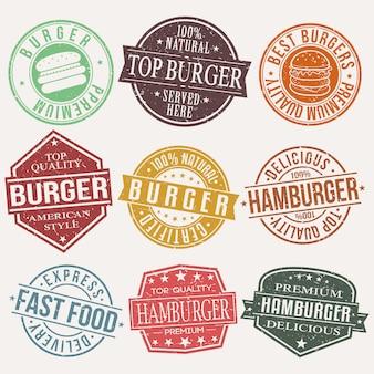 ハンバーガーファーストフードレストランスタンプ