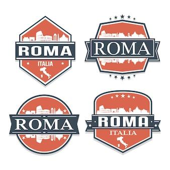 ローマイタリア旅行とビジネスのスタンプデザインのセット