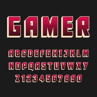 タイポグラフィゲーマーアルファベットスタイル。装飾的なタイプセットのモダンフォント。文字と数字のデザインセット。