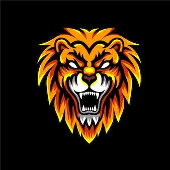 怒っているライオン怒っているマスコットのロゴ