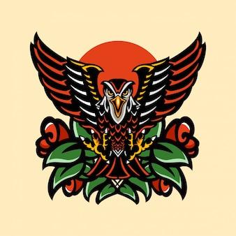 Тату животные орел ястреб и роза винтаж художественный