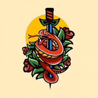 Тату животные змея и роза в винтажном стиле