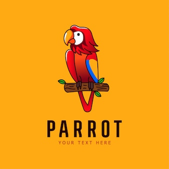 Попугай талисман иллюстрация птица логотип