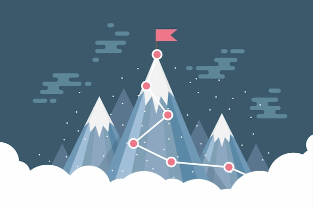 雪山の頂上にビジネス目標成功の旗。