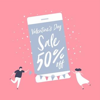 Продажа дня святого валентина на мобильном телефоне.