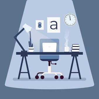 テーブルの上のノートパソコンとモダンなデザイナーの職場。