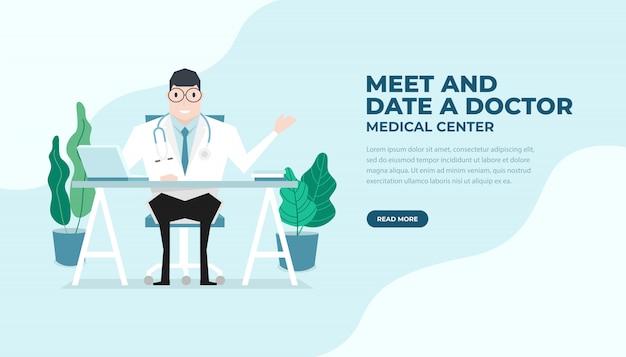 医者は机のフラットスタイルで座っていた。医療と健康管理のバナー。