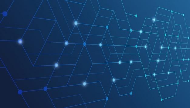 抽象的な線と点がつながります。テクノロジー接続デジタルデータ。
