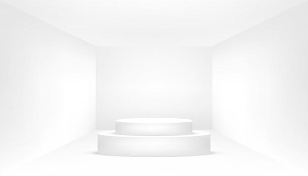 Белый подиум в пустой белой комнате. пустая белая комната.
