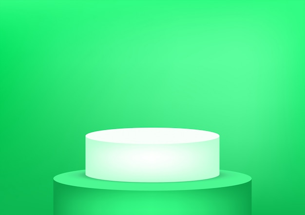 Пустая предпосылка зеленого цвета студии подиума для дисплея продукта с космосом экземпляра. выставочный зал снимать рендеринг. баннер фон для рекламы продукта.