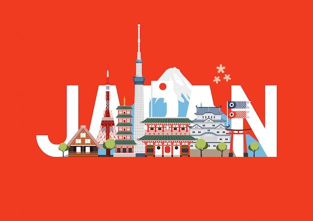 日本旅行の場所とランドマーク。旅行はがき、日本のツアー広告。