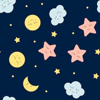 Безшовная картина с милыми облаками, звездой и лунами. шаблон ночного неба.
