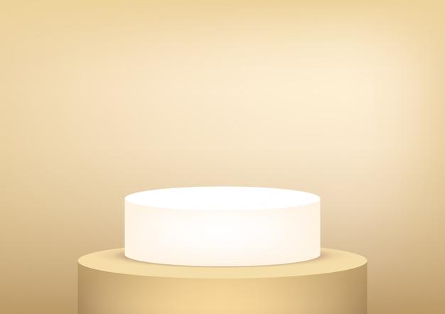 Пустой подиум студийного золота для демонстрации товара.