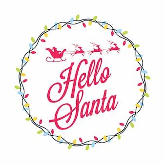 Привет санта. рождественский праздник дизайн карты.