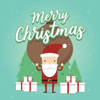 Дед мороз несет тяжелую сумку, полную подарков. поздравительная открытка с рождеством