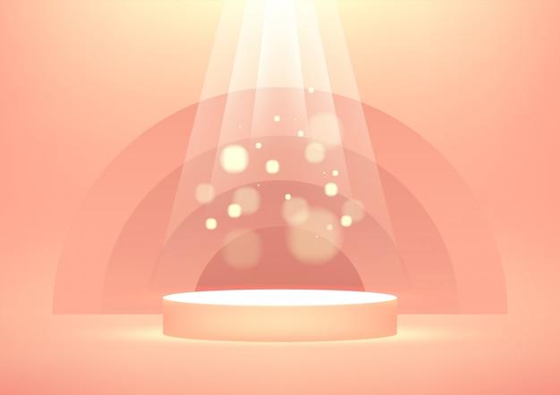 Пустой подиум с яркими сверкающими световыми лучами