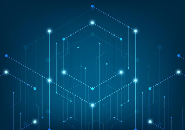 抽象的な線とドットが背景を接続します。技術接続デジタルデータとビッグデータの概念。