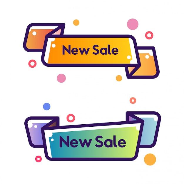 一連のベクトルフラットリボン形状アウトラインストローク新しい販売バナー