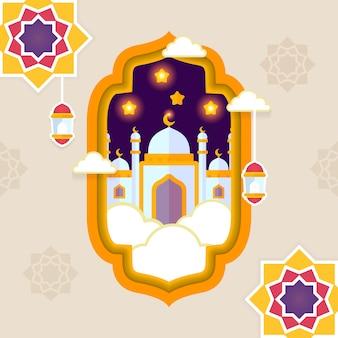 Ид мубарак приветствие исламский плоский дизайн