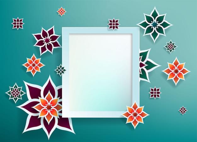 青の背景に幾何学的な芸術の紙フォトフレームグラフィック