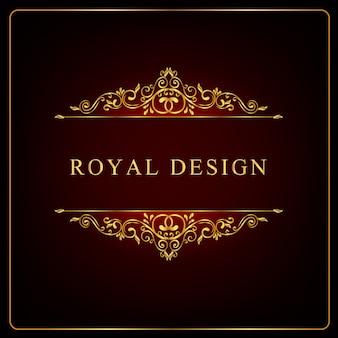 Королевская золотая цветочная рамка, завитки королевского орнамента и винтаж