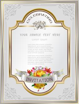 ゴールデンカード招待状フレームの結婚式