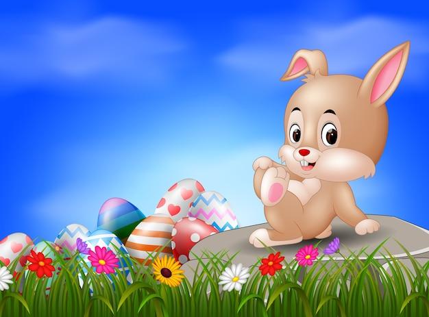 イースターバニーと卵は石に座っている