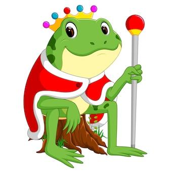 Зеленая лягушка с использованием короны
