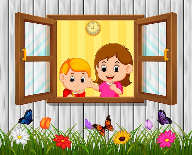 少年と母親の窓