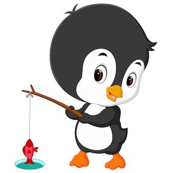 Милый пингвин рыбалка
