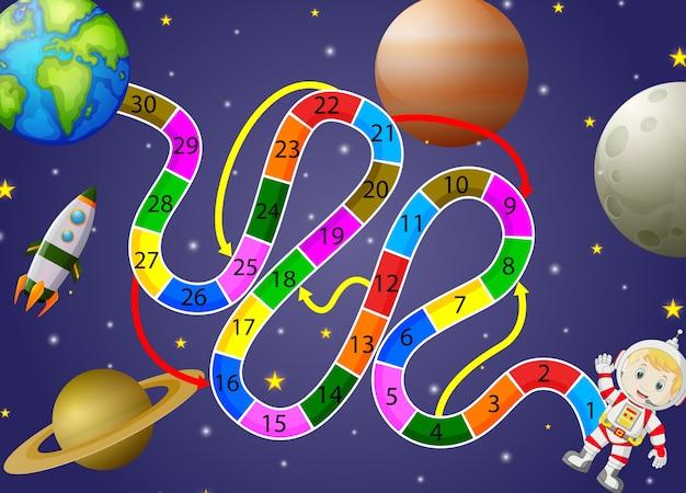 スペースと宇宙飛行士の背景を持つゲームテンプレート