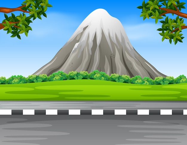 道路と山がある風景