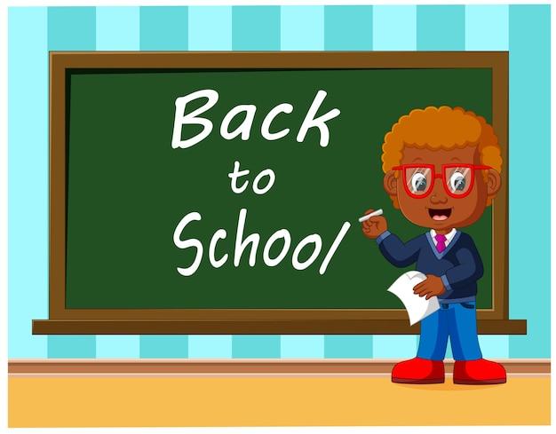 学校に戻ってかわいい学童は黒板で